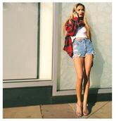jacket,pia mia perez,red flannel shirt,flannel shirt,High waisted shorts,demin,sandals,crop tops,ripped shorts,distressed denim shorts,ripped denim,white,green,perfecto,red,shorts,patagonia