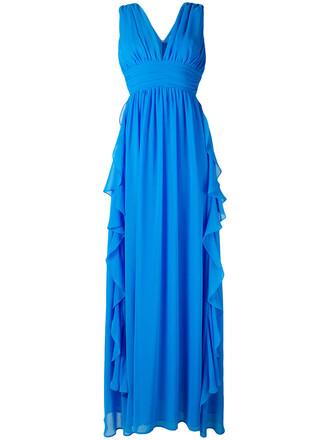 gown women cotton blue dress