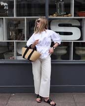 shoes,slide shoes,black shoes,pants,beige pants,top,white top,bag