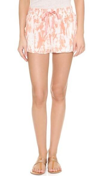 shorts tie dye silk coral