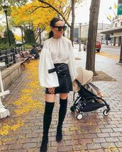 shoes,boots,black boots,suede boots,mini skirt,leather skirt,white blouse,sunglasses