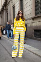pants,top,yellow,stripes,striped pants,sweater,streetstyle,fashion week 2016,milan fashion week 2016