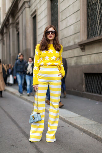 pants top yellow stripes striped pants sweater streetstyle fashion week 2016 milan fashion week 2016 all yellow outfit yellow sweater stars bag blue bag mini bag sunglasses