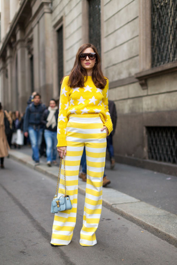 pants top yellow stripes striped pants sweater streetstyle fashion week 2016 milan fashion week 2016