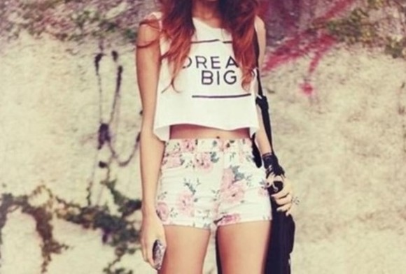 shirt t-shirt t shirt top shorts tee floral dream big