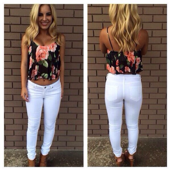 white pants blouse flower print shirt brown wedges