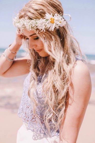 shirt white simple cute flowers lace bright daisy daisies pretty lovely purple blonde