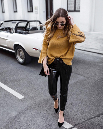 sweater tumblr knit knitwear knitted sweater mustard sweater mustard pants black vinyl pants vinyl shoes sunglasses