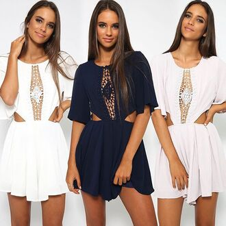 romper white romper grey playsuit navy playsuit cute playsuit lace detail peppermayo