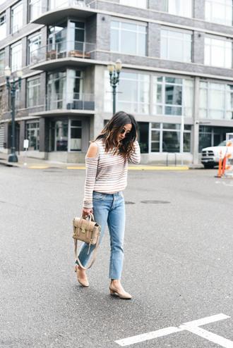 crystalin marie blogger sweater jeans bag shoes sunglasses cut out shoulder handbag
