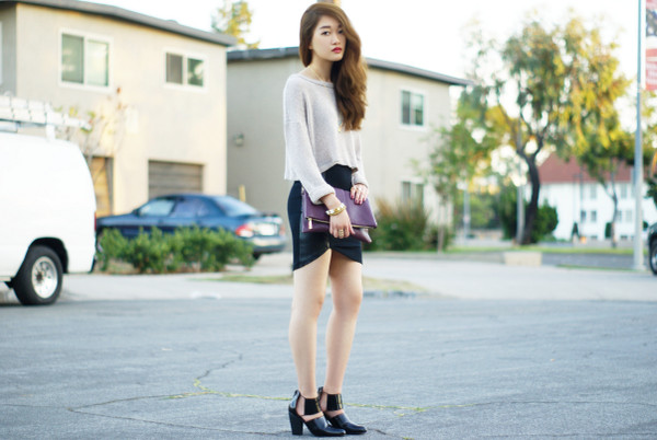 rouge fox jewels sweater skirt bag shoes
