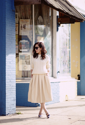 hallie daily,blogger,sunglasses,cable knit,midi skirt,beige,off-white,classy,skirt,sweater,jewels,shoes