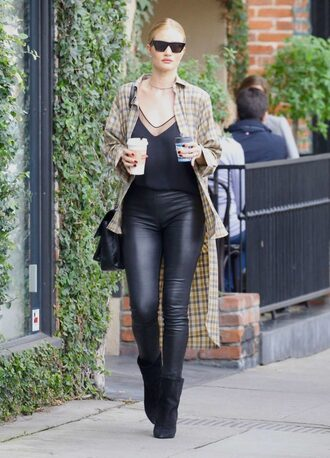 top pants rosie hintington-whitely sunglasses shirt streetstyle fall outfits model off-duty rosie huntington-whiteley