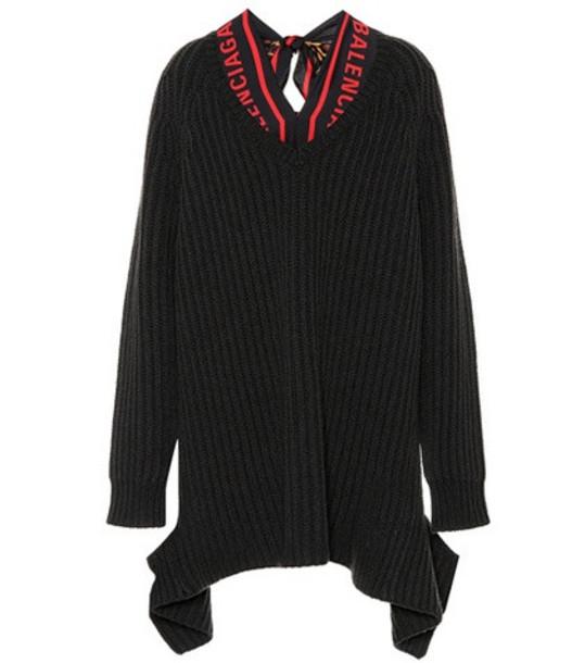 Balenciaga Wool sweater with silk scarf in black