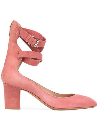 ankle strap women pumps leather red shoes