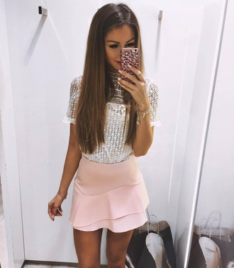 skirt pink skirt fancy sophisticated shirt white crochet white lace beautiful