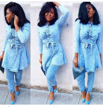 pants long sleeves top denim shirt leggings jeans high heels cute high heels shoes clutch bag accessories peplum denim jacket outfit