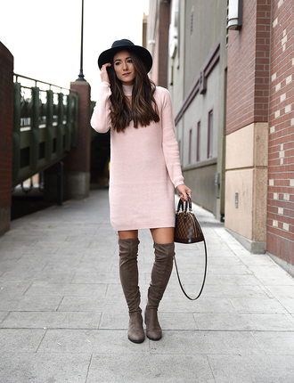 seekingsunshine blogger dress hat shoes fall outfits pink dress handbag louis vuitton bag boots over the knee boots