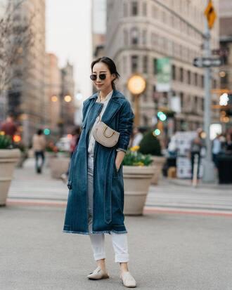 coat denim coat denim jeans shoes white shoes bright jeans shirt bag sunglasses