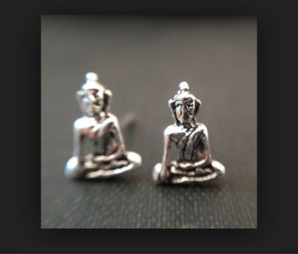 jewels buddha silver studs earings