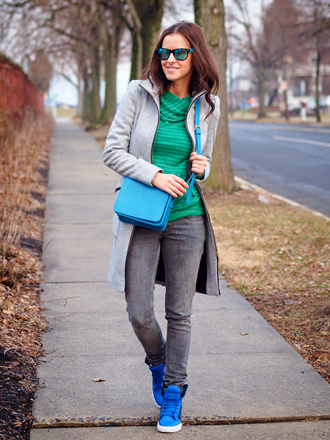 bittersweet colours sweater coat shoes bag jeans sunglasses