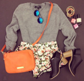 sweater,shorts,bag,shoes,jewels,grey,wool,fluffy