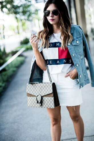 t-shirt logo tee denim skirt mini skirt gucci bag denim jacket blogger blogger style graphic tee tommy hilfiger