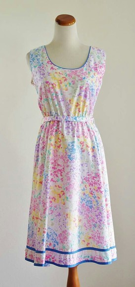 dress yellow multicolor pastel pink purple blue green