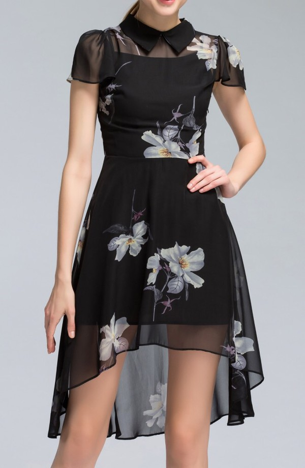 dress black dress floral fashion style trendy cool summer spring dezzal