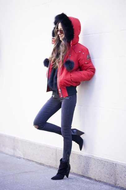 something navy blogger red coat winter jacket grey jeans