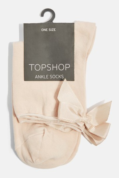 Topshop top bow nude