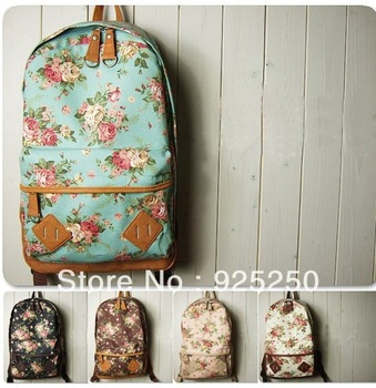 2014canvas backpack for school Vintage floral print canvas shoulder bag for women cute rucksack many colors free shipping-in Casual Daypacks from Luggage & Bags on Aliexpress.com