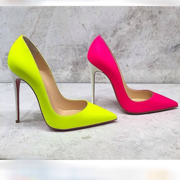 shoes neon yellow heels neon pink high heels blouse