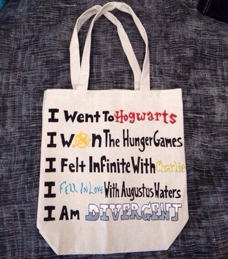bag hogwarts the hunger games the fault in our stars divergent the perks of being a wallflower