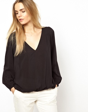 BA&SH | BA&SH Blouse with V Neck and Chain Detail at ASOS