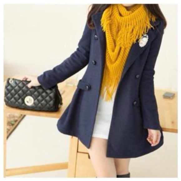 blue jacket coat cute jacket wool long jacket
