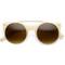 Designer retro circle super half frame flat bar sunglasses