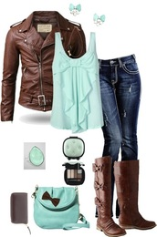 shoes,boots,mint,brown,jeans,tank top,leather jacket,clothes,jacket,bag,back to school,blouse,jewels,brown coat,brown shoes,ripped jeans,brown leather boots,bow,cute,fall outfits,brown leather jacket,earings,make-up,shirt,blue,green,bows,blue shirt,shirt with bows,mint green shirt,bows boots,perfecto