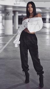 pants,oversized black velvet joggers