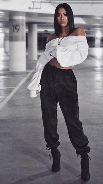 pants oversized black velvet joggers