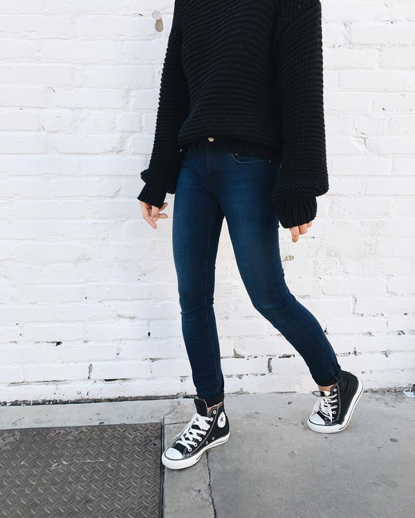 Sweater tumblr black sweater denim jeans blue jeans skinny jeans sneakers black sneakers ...