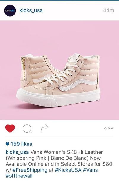 018d8b66bf shoes lght pink whisper pink vans sk8-hi sk8-hi sneakers leather cute cute