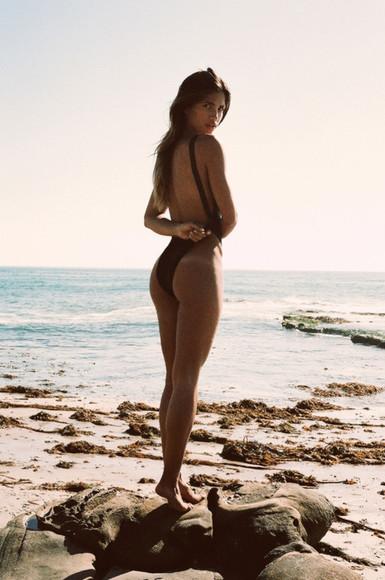 low cut back swimwear leotard beach wear