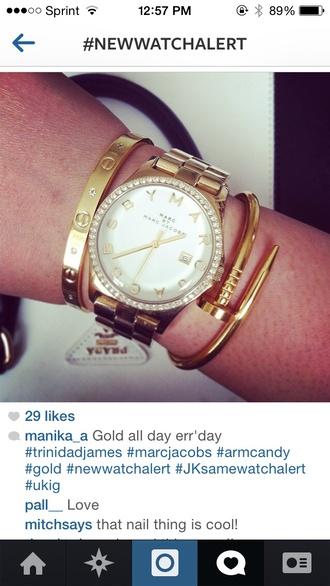 white jewels gold watch gold bracelet jewled gold jewelry marc by marc jacobs prada