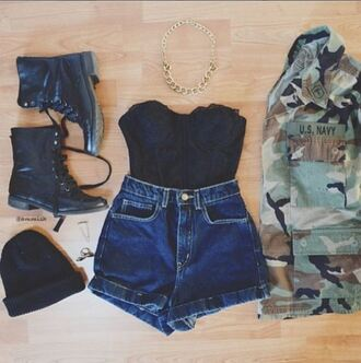 denim jacket shoes shorts camouflage hat military combat boots jewels gold chain necklace coat tank top high waisted shorts beanie bralette bustier