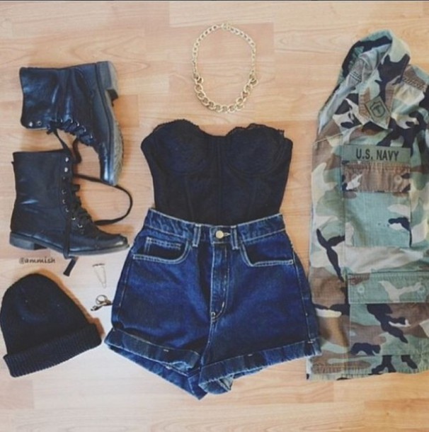 coat High waisted shorts beanie combat boots denim camouflage camouflage necklace bralette bustier gold chain jacket jewels tank top shorts shoes hat