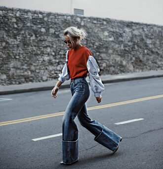 top tumblr red top long sleeves denim jeans blue jeans flare jeans sunglasses