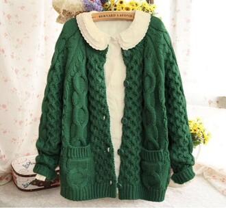 cardigan kawaii peter pan collar green button up grunge asian korean fashion