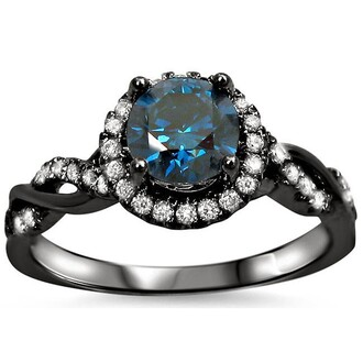 jewels blue diamond halo engagement ring black engagement ring sterling silver engagement ring big round blue sapphire ring