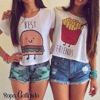 shirt best friend shirts bff burger and fries top friends friendship summer style teenagers